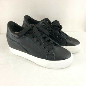 Eve Womens Sneakers Hidden Wedge Lace Up US 8